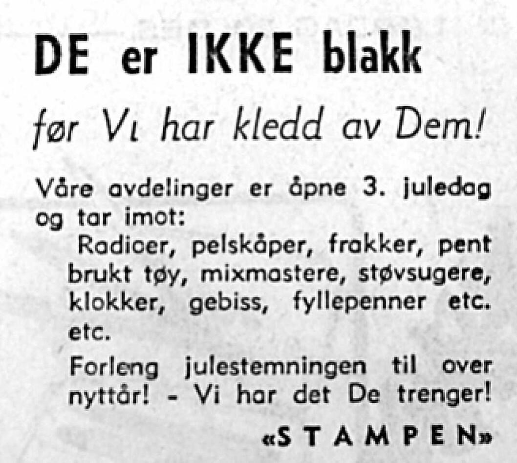 Annonse klippet fra Arbeiderbladet på 60-tallet