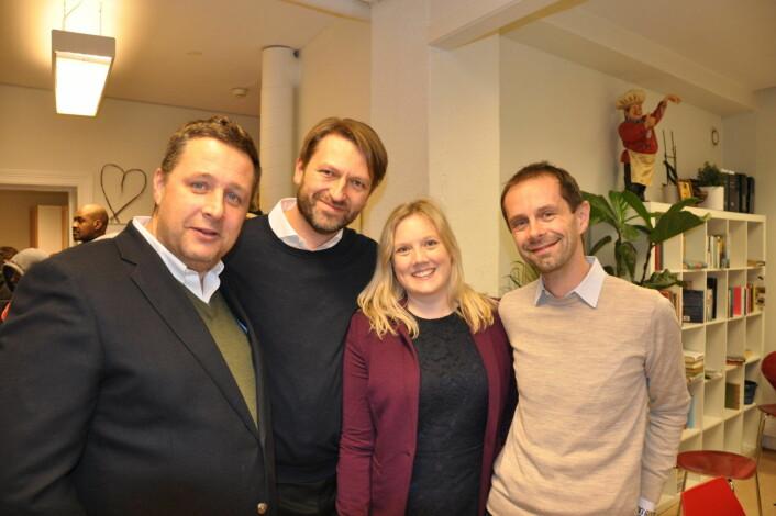 De borgerlige Oslo-partienes toppkandidater ved 2019-valget samlet hos Frelsesarmeen Jobben. Fra venstre; Espen Andreas Hasle (KrF), Eirik Lae Solberg (H), Aina Stenersen (Frp) og Hallstein Bjercke (V). Foto: Arnsten Linstad