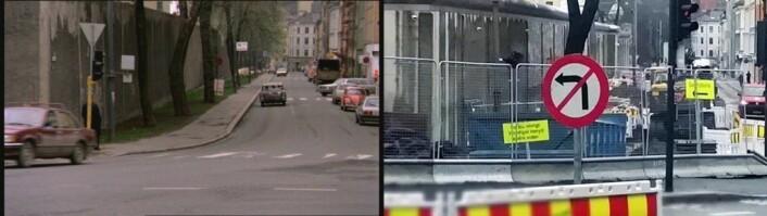 Åkerbergveien er under rekonstruksjon. Her skal det bli sykkelvei. Fengselsmuren står der enda. Fotomontasje: Morten A Fagerli