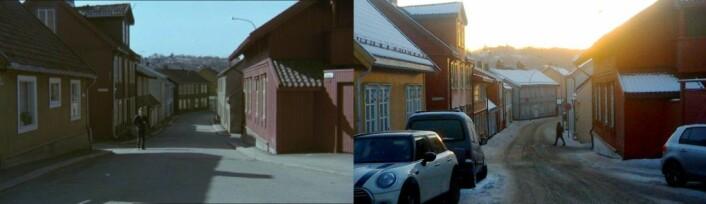Normannsgata på Kampen i 1975 og i 2018. Her er det ikke store forandringen. Fotomontasje: Morten A. Fagerli