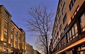 Vinterlys i trærne er kommunens invitasjon til folk om å bruke Kvadraturen