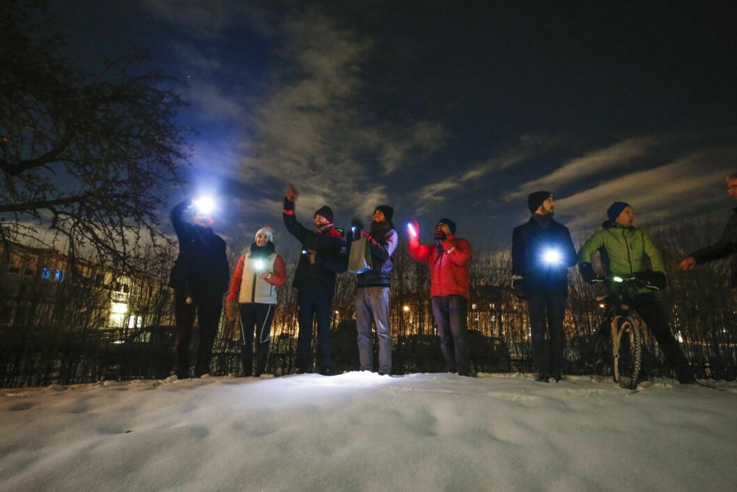 Blinkende sykkelhilsen til barneavdelingen på Ullevål sykehus. Foto: Fredrik Hagen / NTB Scanpix