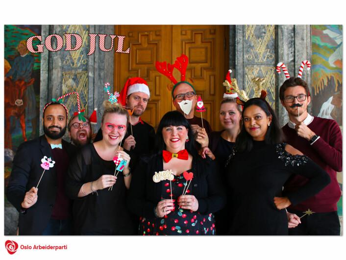 Arbeiderpartiets bystyregruppe valgte rådhuset som kulisse i sitt julekort i 2018. Foto: Oslo Ap