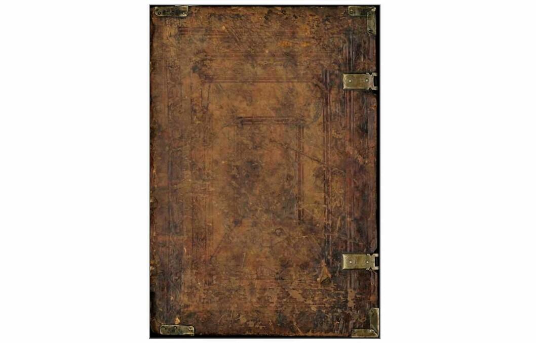 Omslaget på Missale Nidrosiense, en av de to eldste trykte norske bøkene. Den ble trykket i København i 1519 og er en messebok for Norge. Foto: Skjermbilde av digitalisert bok hos Nasjonalbiblioteket.
