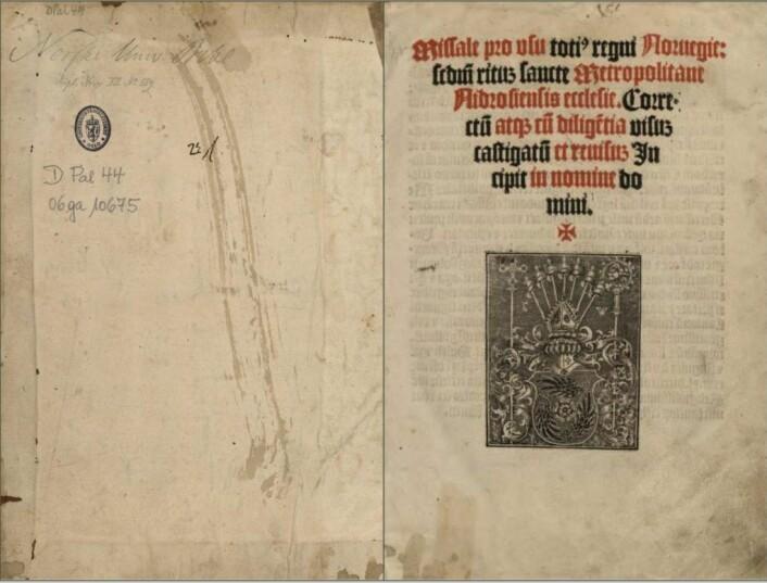 De første to sidene i et eksemplar av Missale Nidrosiense hos Nasjonalbiblioteket på Solli plass. Foto: Skjermbilde av digitalisert bok hos Nasjonalbiblioteket