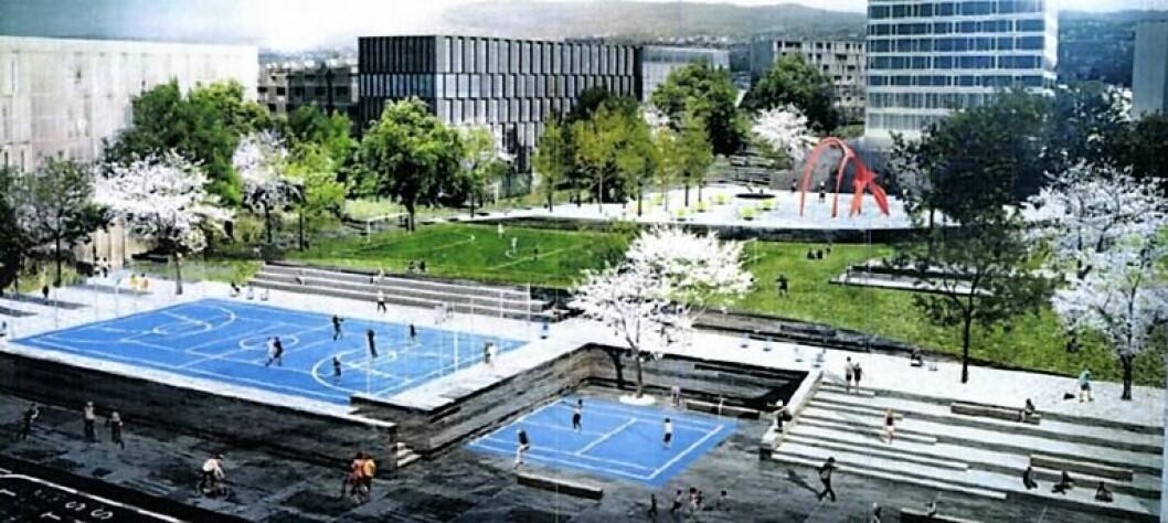 Slik ser arkitekter for seg at den nye aktivitetsparken på Løren kan bli seende ut.  Illustasjon: Arcasa arkitekter