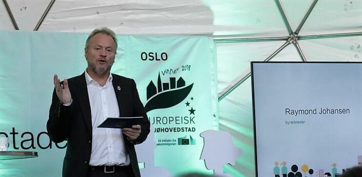 – Markeringen skal understreke det grønne skiftet og være en investering i fremtiden, som vil sette varige spor, sa byrådsleder Raymond Johansen under lanseringen av det foreløpige programmet for Oslo som miljøhovedstad i 2019. Foto: Tove Rømo Grande / NMBU