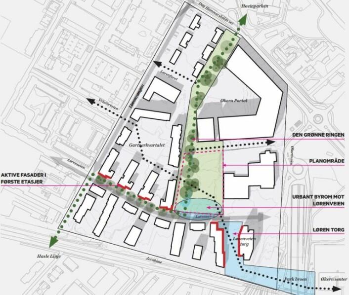 Dette er området i Økernveien 64 hvor den nye aktivitetsparken planlegges bygget. Illustrasjon: Pir II Oslo / Multiconsult