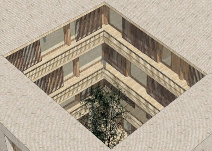 Ved å legge soveromssiden av huset inn mot atriet, har Bane NORs arkitekter tenkt å løse støyproblemene. Utsnitt fra plan- og fasadetegning av Reiulf Ramstad arkitekter