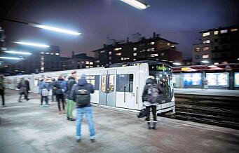 Ingen T-bane mellom Majorstuen og Stortinget på kvelden i vinter