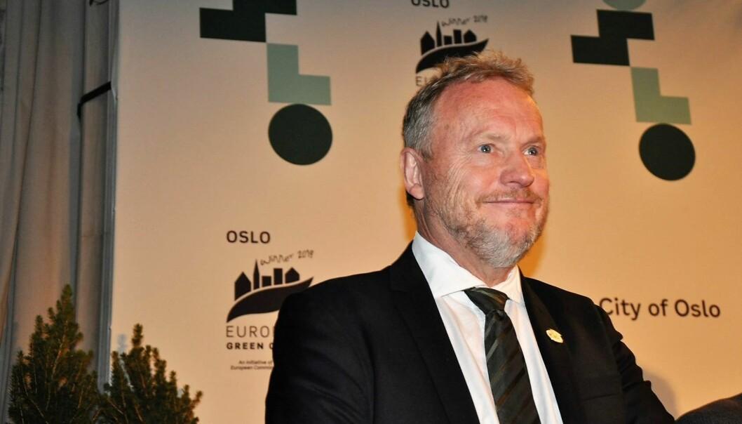 Byrådsleder Raymond Johansen (Ap) på pressekonferanse før den offisielle seremonien der Oslo overtar som EUs miljøhovedstad.