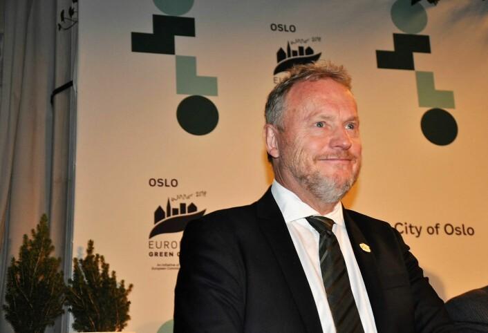 Byrådsleder Raymond Johansen (Ap) på pressekonferanse før den offisielle seremonien der Oslo overtar som EUs miljøhovedstad fra nederlandske Nijmegen. Foto: Arnsten Linstad