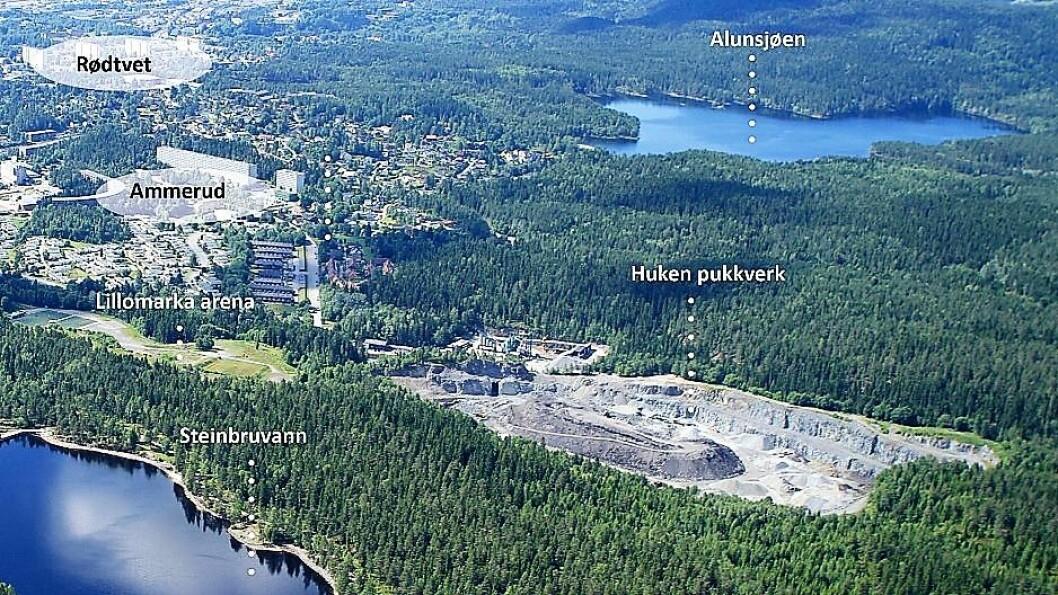 Huken pukkverk ligger innerst i Groruddalen. I sin tid en god inntekt for kommunen. Nå stenges det for godt. Foto: EBY