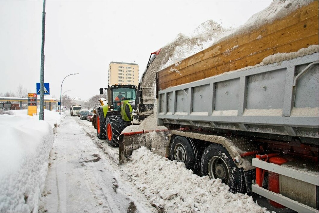 Blir det store mengder med snø å håndtere samtidig, får Oslo kommune et problem. Derfor har de laget en kriseplan. Foto: Bymiljøetaten