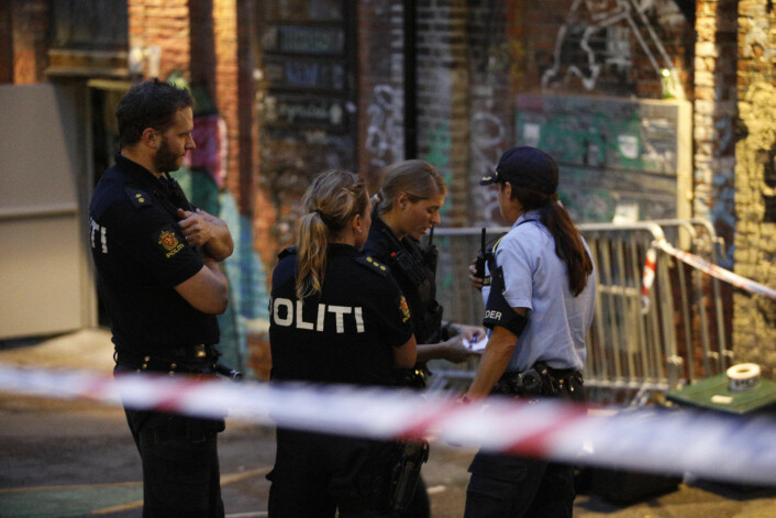 Natt til 9. juli 2017 fikk politiet melding om at fire personer var skutt på utestedet Blå i ved Akerselva i Oslo. Foto: Audun Braastad / NTB scanpix