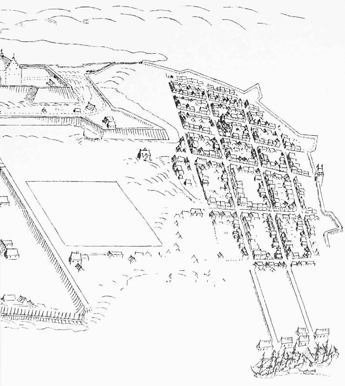 Utsnitt av illustrasjon utført av Isaac van Gelkerck fra 1648 (Nasjonalbiblioteket). Til venstre ser vi litt av Akershus slott og festning. Christiania er omgitt av festningsvoller, og i havna ser vi Nordre og Søndre brygger, med sjøboder og seilfartøy.