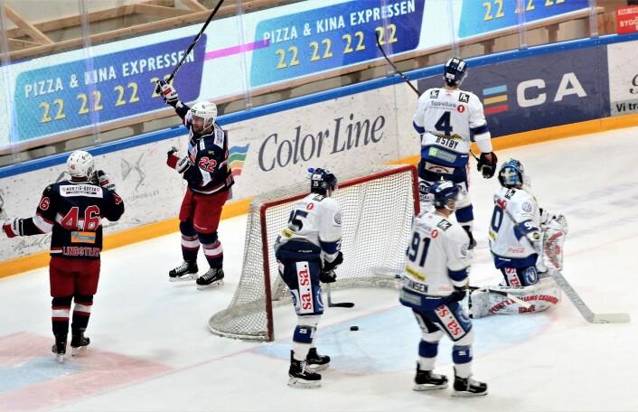 Martin Røymark kan juble for kveldens første mål. Foto: André Kjernsli