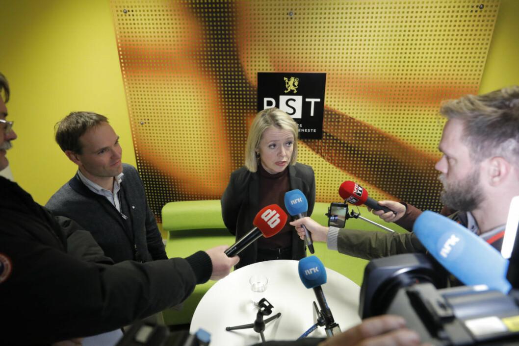 Marie Benedicte Bjørnland, Sjef PST, på en pressekonferanse fredag ettermiddag om en knivstikking som er et mulig terror angrep. Foto: Fredrik Hagen / NTB scanpix