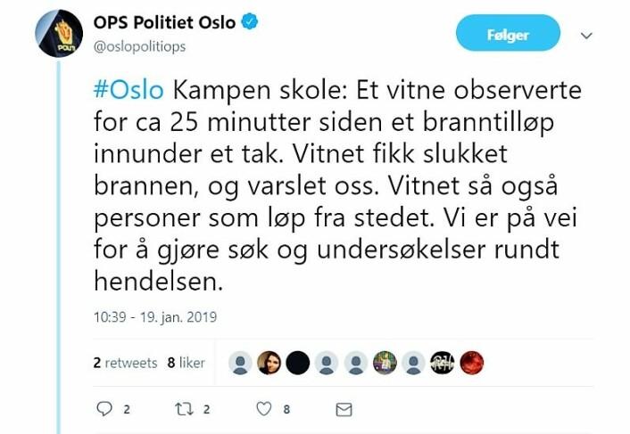 Skjermdump fra Oslo politidistrikts Twitter-konto