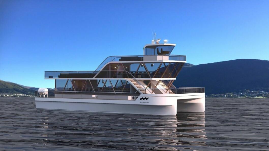 Dette er båten som skal frakte hvalsafariturister i Lofoten, og som også vil være perfekt som en trikk mellom Sørenga, Operaen, Aker Bygge og Bygdøy, mener Brim Explorer. Illustrasjon: Brim Explorer