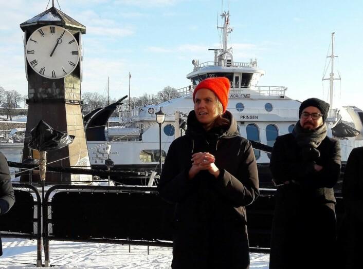 Leder for Katapult Ocean, Maren Hjoth Bauer åpner Norges første testplattform for havet på Aker Brygge. Foto: Anders Høilund