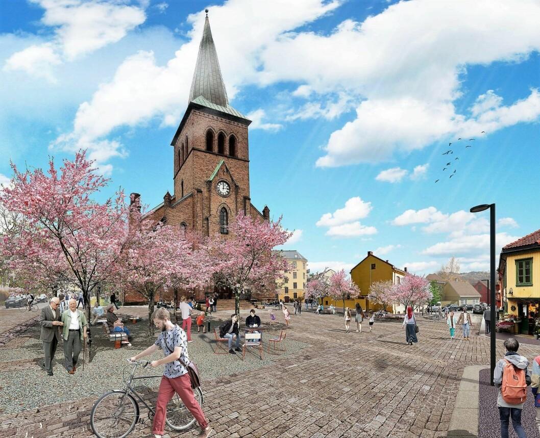Et femarmet kryss blir nå en piazza, slik en «landsby» som vår fortjener. Vi gleder oss og opplever at de aller fleste gleder seg med oss. Illustrasjon: Grindaker landskapsarkitekter