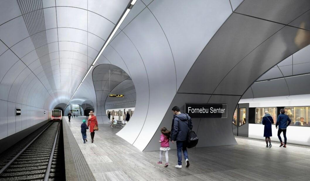 Slik tenker arkitektene i Zaha Hadid Architects og A-lab at Fornebu stasjon blir sdeende ut når den står ferdig. Illustrasjon: Fornebubanen