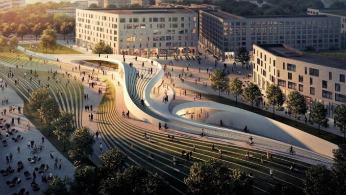 Fornebu stasjon og driftsbase laget av Zaha Hadid Architects og A-lab med prosjektet «Underjordisk landskap» er blant vinnerne i plan- og designkonkurransen for nye T-banestasjoner på Fornebubanen i Oslo og Bærum. Illustrasjon: Fornebubanen