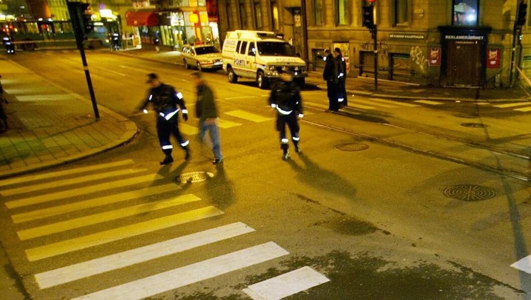 Politiet måtte natt til søndag rykke ut til voldshendelser både i Skippergata og Brugata i Oslo sentrum. Arkivfoto: Thomas Bjørnflaten / NTB Scanpix