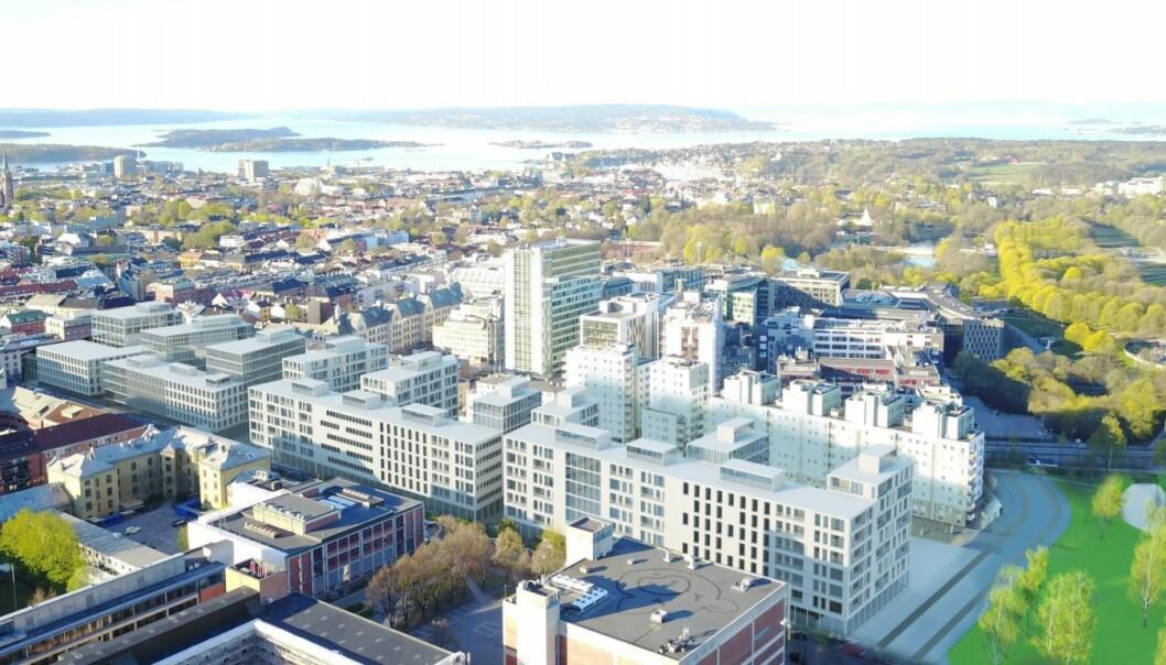 De nye planene for som strekker seg fra dagens majorstuhus og til Frøen stasjon. De hvite husrekkene ligger på toppen av dagens t-banelinje. Nederst på bildet ligger Chateau Neuf og Musikkhøgskolen.
