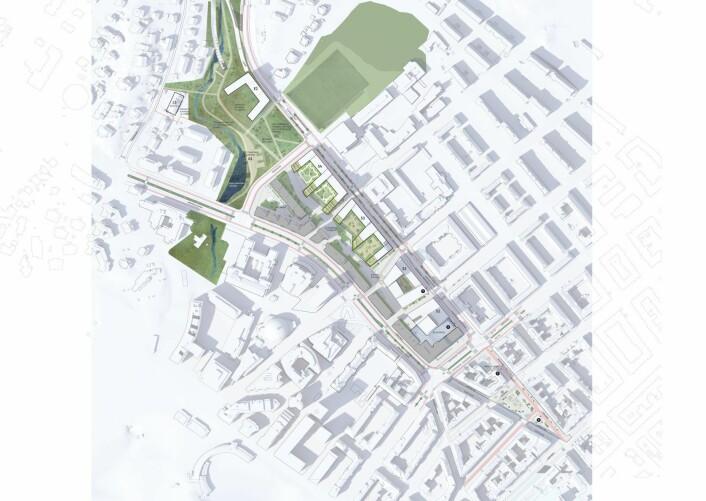 Kartet illustrerer områdene som skal omreguleres. Illustrasjon: Asplan Viak