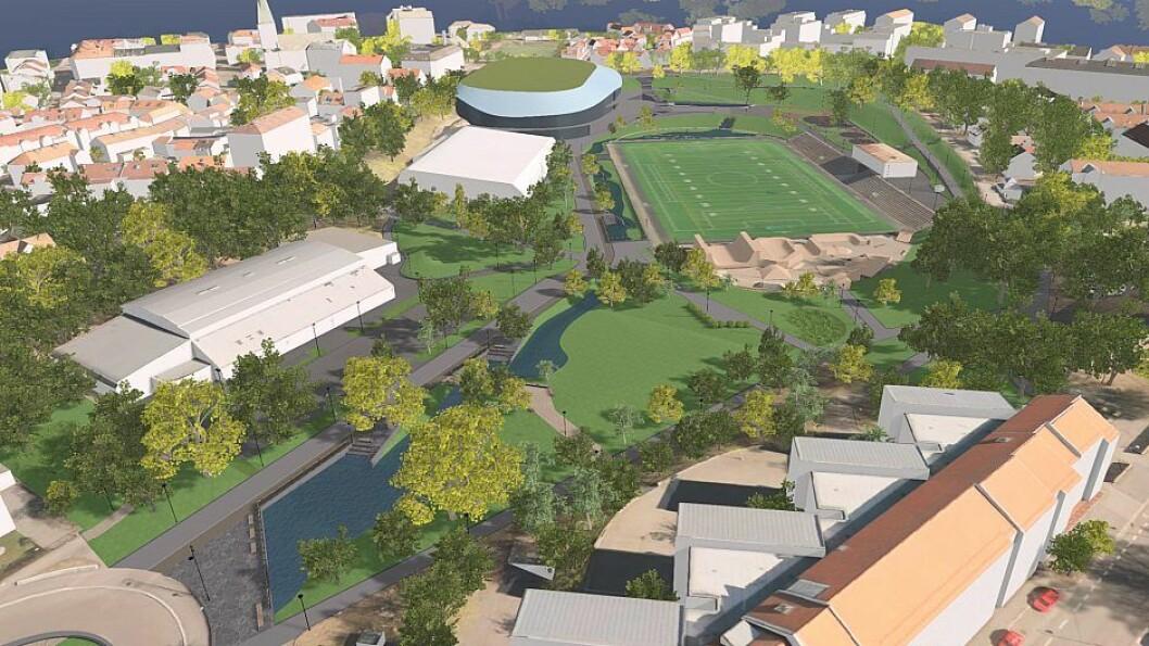 Grønne plener med gang- og sykkelveier erstatter parkeringsplasser og bilveier når Nye Jordal Park etter planen skal stå ferdig i juni 2020. Illustrasjon: Oslo kommune
