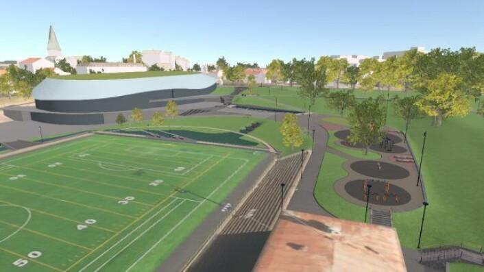 Når Jordal Amfi etter planen står ferdig i juni 2020, skal både fotball og amerikansk fotball skal få tilbake kunstgressbanen. Illustrasjon: Oslo kommune