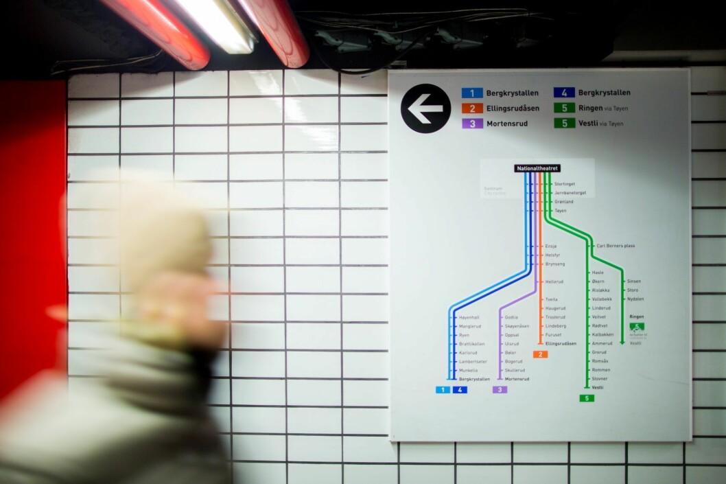 For å ta unna den økte trafikken på T-banen må det bygges et nytt spor fra øst til vest i byen. Men hvor skal traséen gå? Foto: Vegard Wivestad Grøtt / NTB scanpix