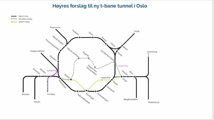Høyres forslag til ny T-banetrasé. Til Grünerløkka, Sagene og Bislett i stedet for gjennom sentrum.