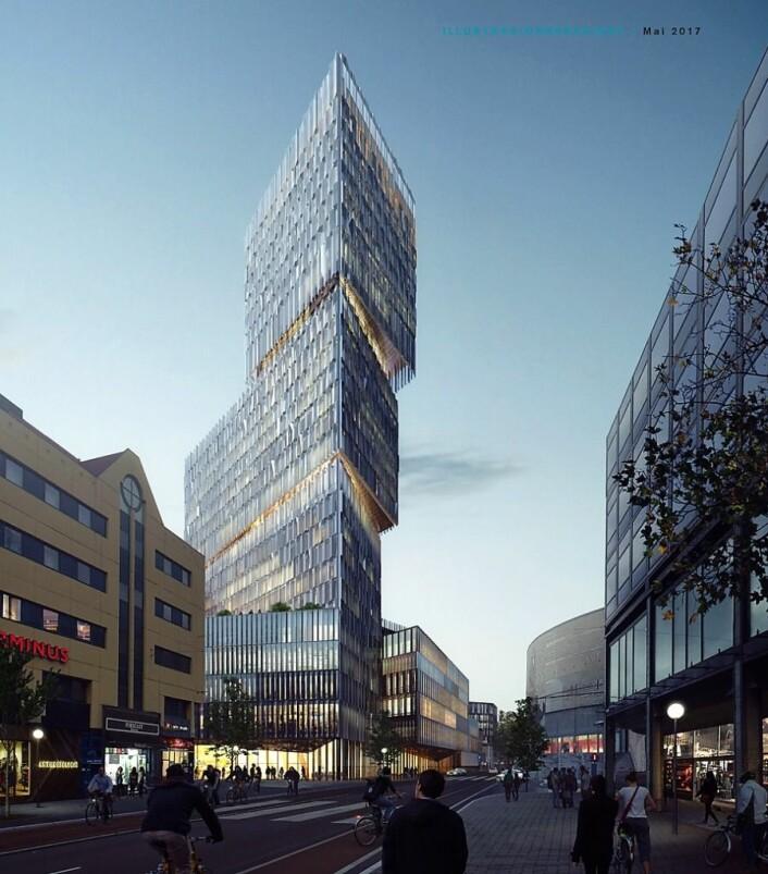 Slik så Thon-gruppen for seg utviklingen av deler av Gunerius-kvartalet tidligere i prosjektet. Illustrasjon: White arkitekter