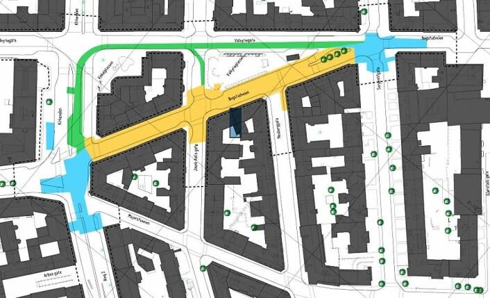 Gult område viser den delen av Bogstadveien som skal oppgraderes i fase 1, med varighet fra februar til oktober 2019. Illustrasjon: Sporveien