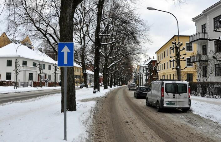 Over 170 p-plasser skal vekk og erstattes med sykkelvei i Gyldenløves gate på Frogner, dersom kommunens bymiljøetat og det rødgrønne bystyreflertallet i Oslo får viljen sin. Men flertallet av medlemmene i Frogner bydelsutvalg, inkludert Aps representanter, sier blankt nei til planene. Foto: Arnsten Linstad