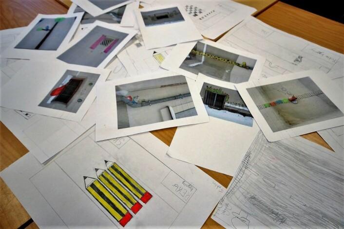 Elevene har selv laget mange tegninger som beskriver hvordan de ønsker at en ny skolegård skal se ut. Foto: André Kjensli