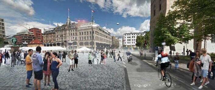 Her er en av visjonene om bilfritt byliv ved Domkirken og Stortorget i Oslo sentrum. Illustrasjon: Grindaker landskapsarkitekter / Okra Landscapearchitects / Witteveen+Bos