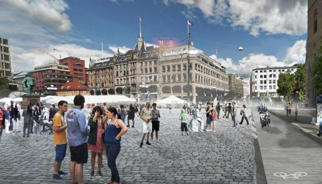 En prosjektskisse for bilfritt Stortorvet i Oslo sentrum. Illustrasjon: Grindaker landskapsarkitekter / Okra Landscapearchitects / Witteveen+Bos