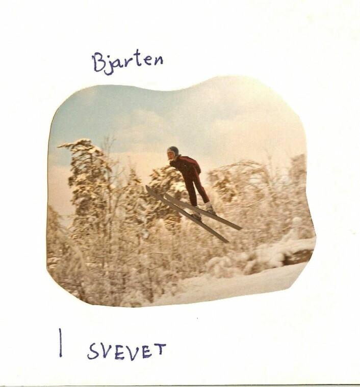 En fremtidig olymisk mester svever nedover. Espen Bredesen i Lille-Bjarten en gang på 1970-tallet. Foto: Privat