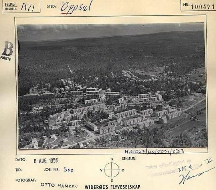 I 1956 var mange av blokkene på Oppsal allerede på plass. I skogen skimtes Bjartbakken. Foto: Widerøe`s flyveselskap / Østensjø historielag