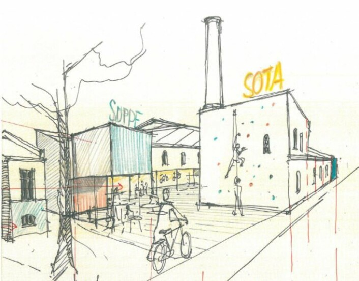 Slik kan arkitektene tenke seg Etterstadgata 6. Skisse fra planinnlegg.