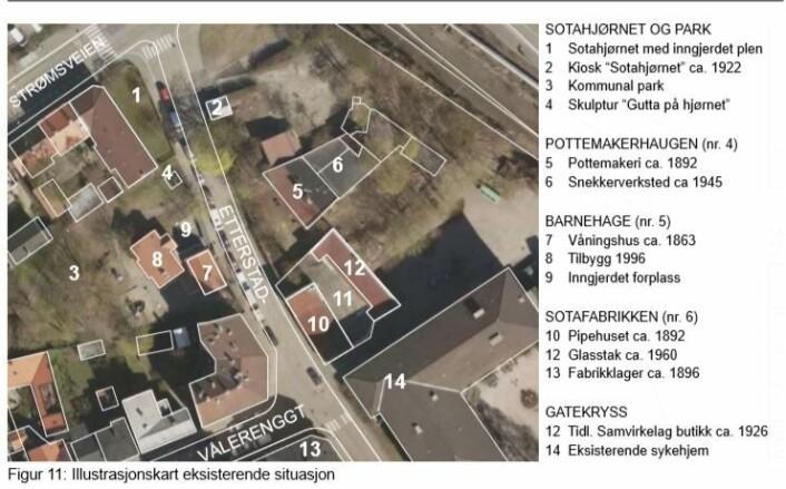 Slik ser det ut i dag. Sotafabrikken 10-12 lå akkurat på grensen mellom Oslo og Aker, og fikk fasong deretter. Illustrasjon fra planinnlegg