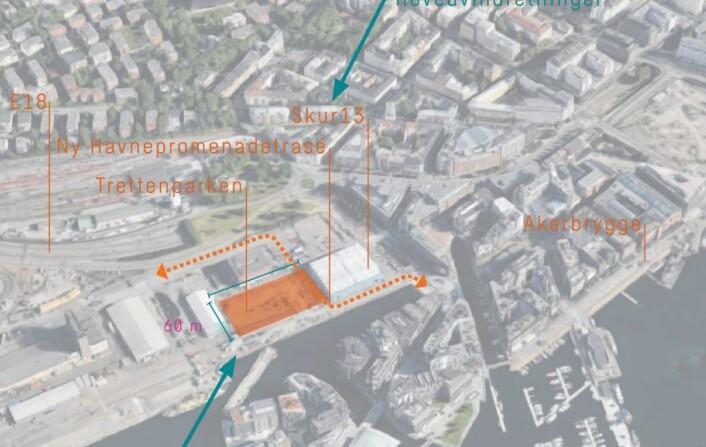 Pilen nederst i bildet peker på området av Filipstad som kan bli ny park. Foto/illustrasjon: HAV / Oslo Havn