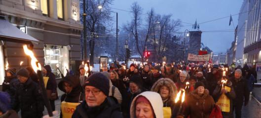 Flere hundre i fakkeltog for å beholde Ullevål sykehus