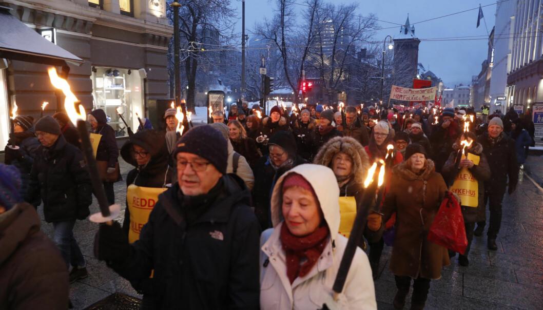 Fakkeltog for å forsvare Ullevål sykehus. Markeringen ble arrangert av blant annet Fagforbundet Oslo.