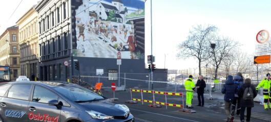 Eneste gang- og sykkelvei mellom Gamlebyen og Sørenga er stengt etter jordraset ved Bispegata