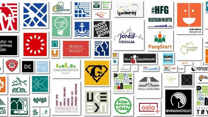 Dagens designmanual for Oslo kommune er godt over 20 år gammel. Og kommunens virksomheter opererer med over 200 forskjellige logoer. Nå ønsker byrådet et mer helhetlig uttrykk. Illustrasjon: Oslo kommune